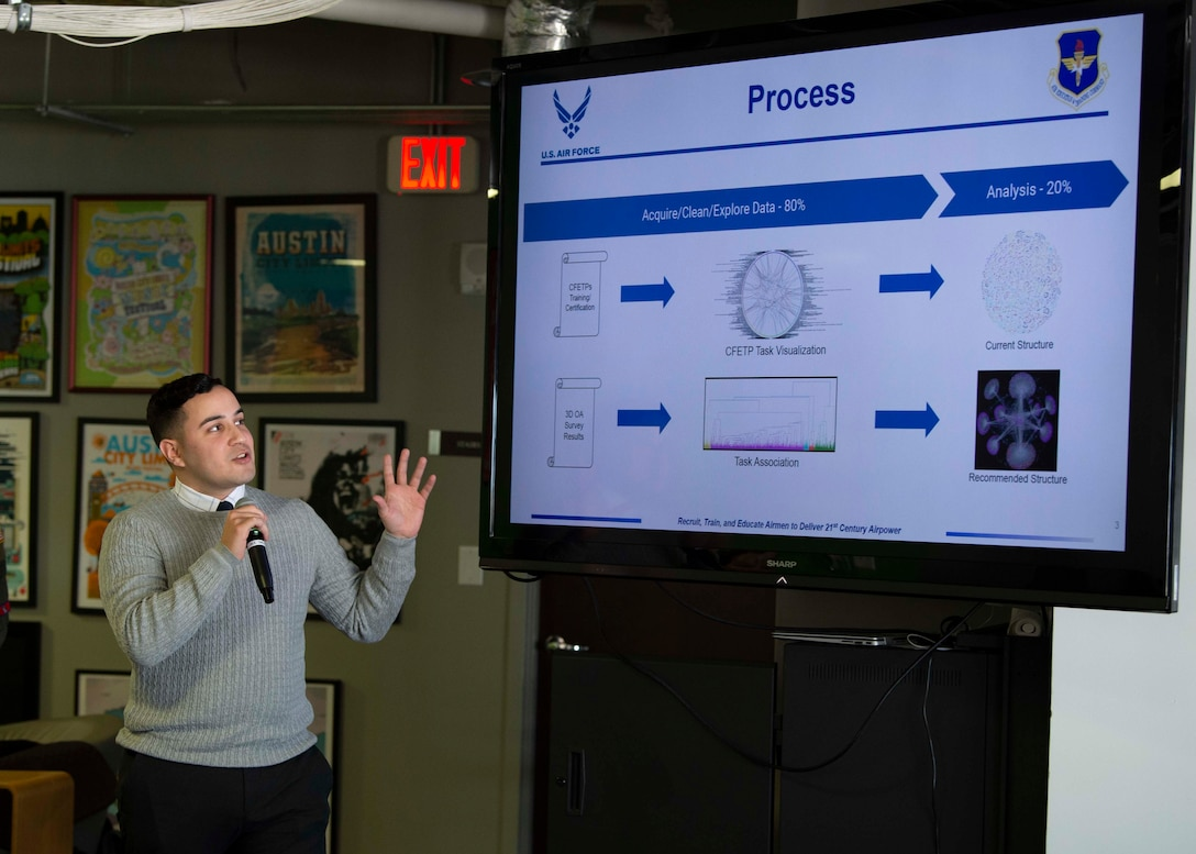 Santos Bonilla, Project NEXUS student and Air Force Office of Special Investigations agent, presents one of the Project NEXUS capstone projects during the graduation on Nov. 4, 2019. Designed by the Air Education and Training Command Technology Integration Detachment, the beta test program was designed to fuel organic technology problem solving efforts for Airmen in their day-to-day workplaces with skills like software development, data science, and user interface/user experience design. (Air National Guard Photo by Staff Sgt. Jordyn Fetter)