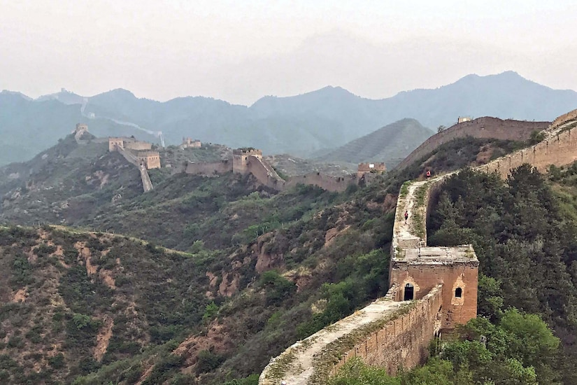 Great Wall of China winds up and down mountains