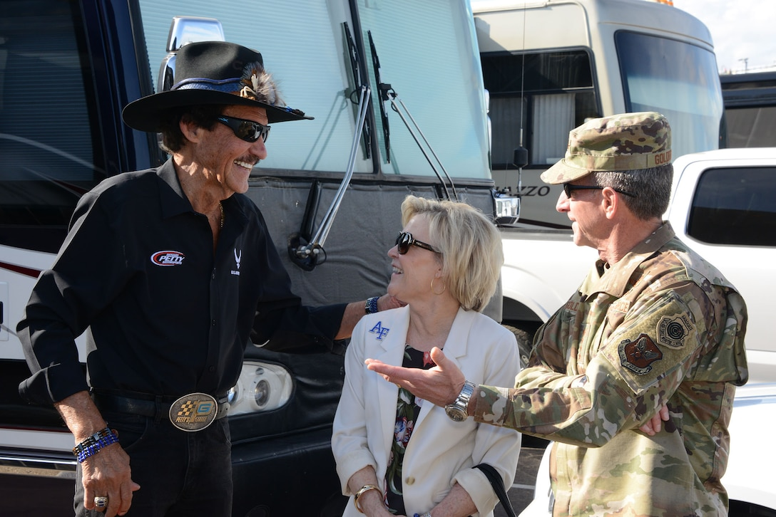 Richard Petty of Richard Petty Motorsports meets with Gen. David L. Goldfein, Air Force chief of staff and his wife Daw Goldfein prior to the race