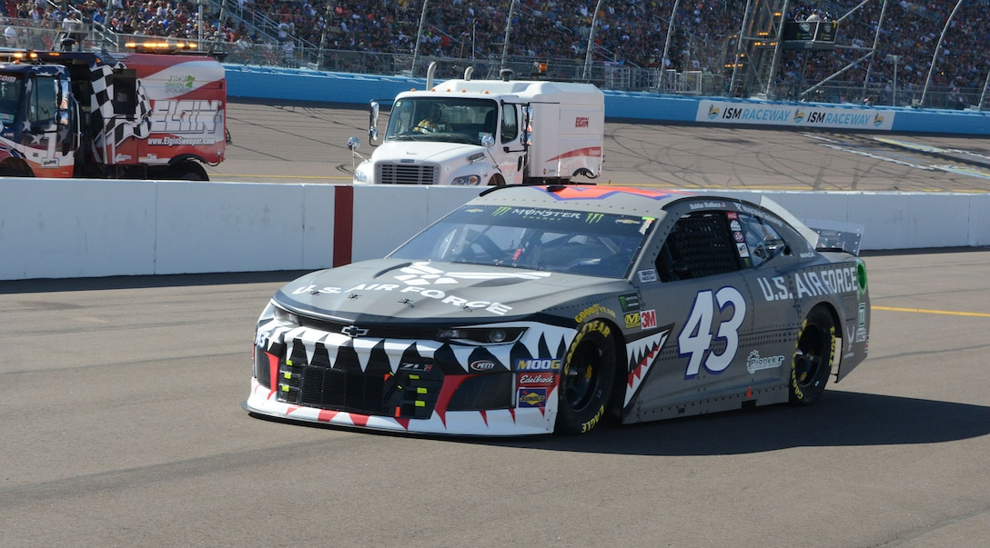 The No. 43 Richard Petty Motorsports race car, driven by Bubba Wallace, took on the A-10 Warthog paint scheme for the Veteran's Day weekend NASCAR race in Phoenix