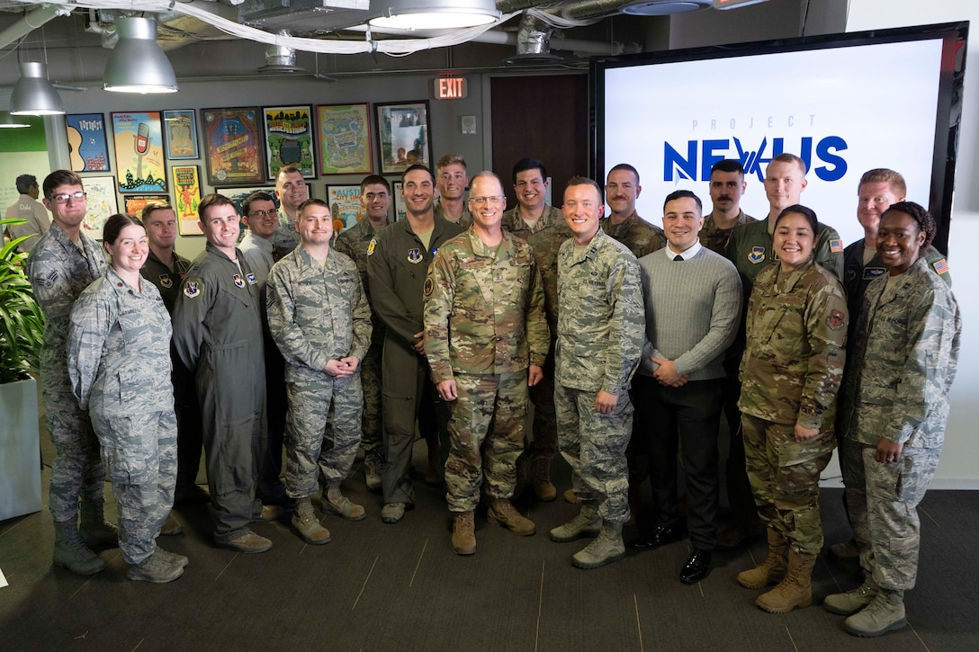 U.S. Air Force Maj. Gen. Mark Weatherington, Air Education and Training Command deputy commander, stands with the first class of the Project NEXUS program after their graduation ceremony Nov. 4, 2019, at the Capital Factory in Austin, Texas. Designed by the AETC Technology Integration Detachment and hosted by the AFWERX-Austin hub, the beta test program was designed to fuel organic technology problem solving efforts for Airmen in their day-to-day workplaces. (Air National Guard Photo by Staff Sgt. Jordyn Fetter)