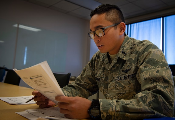 First Lt. Seth-Mitchell Trambulo, 50th Operations Support Squadron student, studies his coursework at Schriever Air Force Base, Colorado, Nov. 12, 2019.  The 50th OSS is currently hosting its largest course with 64 Airmen in preparation for upcoming changes to space training. (U.S. Air Force photo by Airman 1st Class Jonathan Whitely)