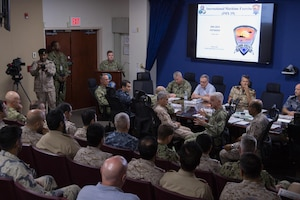 Vice Adm. Jim Malloy, commander of U.S. Naval Forces Central Command and U.S. 5th Fleet and Combined Maritime Forces delivers closing remarks during a conference for the conclusion of International Maritime Exercise 2019 (IMX 19). IMX 19 is a multinational engagement involving partners and allies from around the world designed to facilitate the sharing of knowledge and experiences across the full spectrum of defensive maritime operations. IMX 19 serves to demonstrate the global resolve in maintaining regional security and stability, freedom of navigation and the free flow of commerce from the Suez Canal south to the Bab el-Mandeb Strait through the Strait of Hormuz to the Northern Arabian Gulf.
