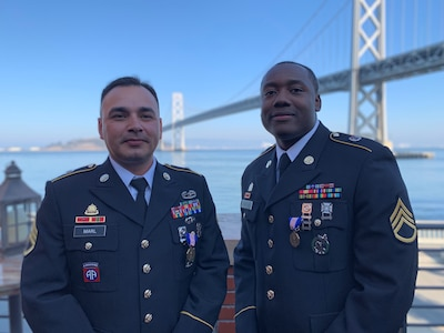 Staff Sgt. Michael Marl and Staff. Sgt. Isaiah Locklear, Army recruiters assigned to the Central California Recruiting Battalion, received the Soldier's Medal during a ceremony held in San Francisco on Nov. 9. The recruiters received this award for their quick actions during a shooting at the Tanforan Mall in San Bruno, California this past July. Marl and Locklear ensured the safety of applicants visiting their recruiting station before running towards the gunfire. They provided aid to two young boys who were injured during the incident.