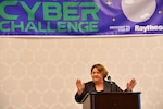"Sarah Eddy, former Girl Scout and current Deputy Chief of Critical Networks Defense speaking on ""Cybersecurity, Resiliency, and You,"" Sarah shared highlights of her journey that taught her resilience, confidence, and as she calls it, ""grit."""