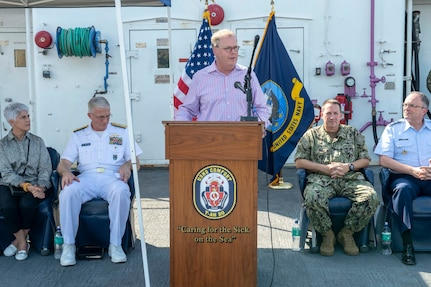 Tom McCaffery, assistant secretary of defense for health affairs, speaks during an all-hands call aboard the hospital ship USNS Comfort (T-AH 20) while the ship is anchored off the coast of Port-Au-Prince, Haiti, Nov. 7, 2019.