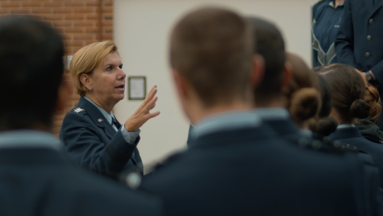 Retired Gen. Lori Robinson speaks with cadets at Air Force ROTC Detachment 475, University of New Hampshire, Nov. 12, 2019. Robinson was at her alma mater and former detachment to receive the Air Force ROTC Distinguished Alumni Award, presented by the commander of Headquarters AFROTC. Her last assignment before retiring in July 2018 after serving 37 years was as commander United States Northern Command and North American Aerospace Defense Command. (Photo by Billy Blankenship)