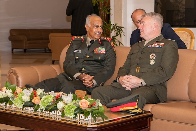 U.S. Marine Corps Gen. Kenneth F. McKenzie Jr., the commander of U.S. Central Command, right, meets with Lt. Gen. Mohammad Khaled Al-Khadher, the Chief of General Staff of Kuwait Armed Forces, left, during his visit at the Bayan Palace in Kuwait, Nov. 13, 2019. (U.S. Marine Corps photo by Sgt. Roderick Jacquote)