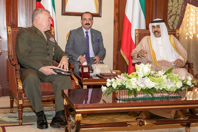 U.S. Marine Corps Gen. Kenneth F. McKenzie Jr., the commander of U.S. Central Command, left, meets with Sheikh Nawaf Al-Ahmad Al-Jaber Al-Sabah, the Crown Prince of Kuwait, right, during his visit at the Bayan Palace in Kuwait, Nov. 13, 2019. (U.S. Marine Corps photo by Sgt. Roderick Jacquote)