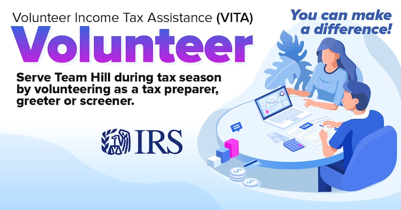 The 75th Air Base Wing Legal Office is looking for volunteers to work in Hill Air Force Base's free income tax filing center as part of the Volunteer Income Tax Assistance program. The training will be held Jan. 13-17, 2020, and people can volunteer to help the tax center from Jan. 17 through tax filing day April 15. (U.S. Air Force graphic by Kent Bingham)
