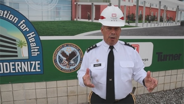The Mobile District and U.S. Army Corps of Engineers' Chief of Engineers celebrated a milestone of sorts when Lieutenant General Todd Semonite visited the James A. Haley V.A. Medical Center Bed Tower site in Tampa, Fla., on Nov. 8, 2019.