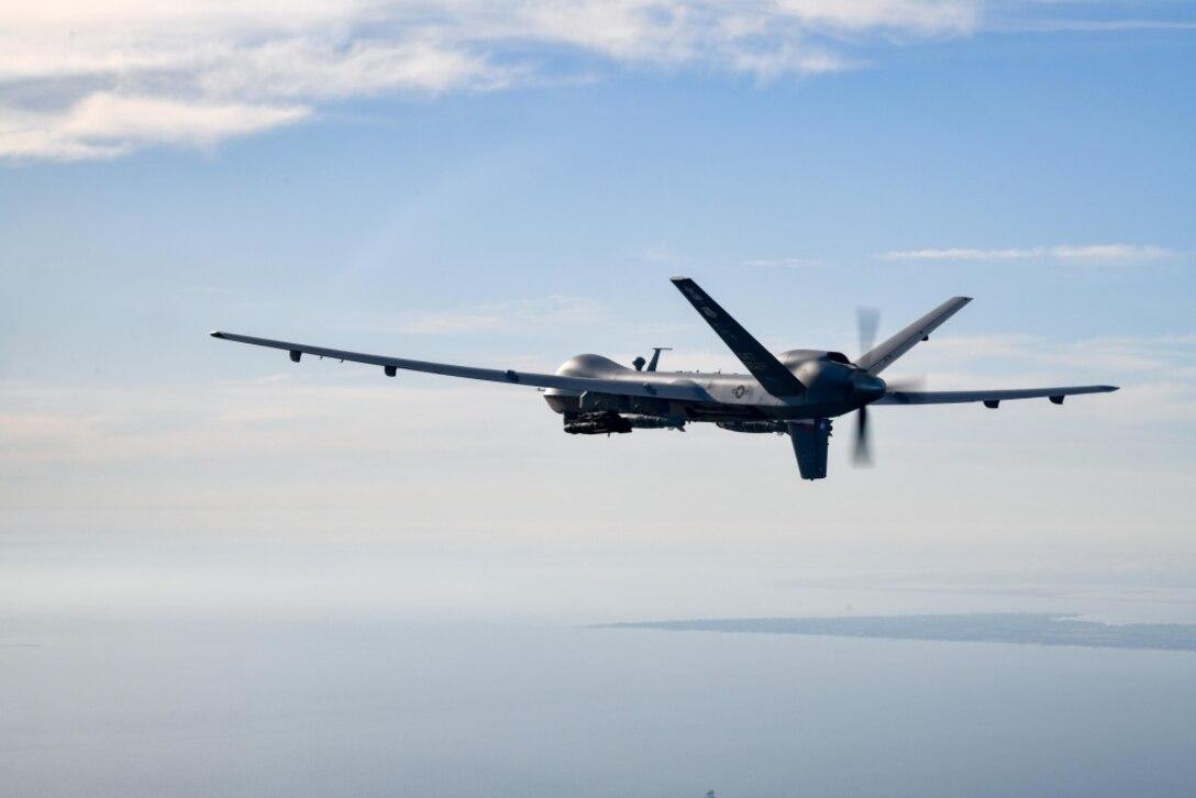 A drone flies in the air.
