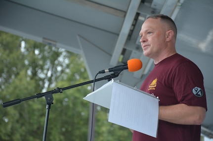 Chief Warrant Officer Four Clifford Bauman, an Active Guard Reserve Soldier assigned to the National Guard Bureau, served as the key speaker before the start of the 94th Training Division-Force Sustainment, 2nd Brigade Headquarters and Headquarters Company inaugural 5K run on Fort Lee, Virginia, Sept. 14, 2019. The event was designed to raise suicide awareness amongst our nation's service members and to encourage Soldiers contemplating suicide to seek support from fellow service members, friends, and loved ones, along with using various military resources in a time of need or when in the midst of trials and tribulations.