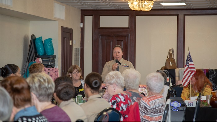 """Master Sergeant Tianna Tien, communications chief aboard Marine Corps Logistics Base Barstow, is the guest speaker at the Barstow Women's Club annual """"Salute to Women in the Military"""" luncheon held at Los Domingos restaurant, Barstow, California, Nov. 6. Barstow Women's Club was established in 1922 as a women's service organization and continues to support local events, charities, schools, scholarships, veterans, foster children and more."""