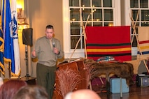 Lieutenant Colonel Micheal Graham, 1st Force Storage Battalion commanding officer, speaks to the audience about his appreciation for the Navajo Code Talkers and their families during the annual Troops and Trains event at the Harvey House, Barstow, Calif., Nov. 6.