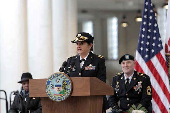Brig. Gen. Kris A. Belanger, Commanding General, 85th U.S. Army Reserve Support Command, speaks to an audience of veterans, community leaders and local citizens at Soldier Field during the City of Chicago's Veteran's Day commemoration, November 11, 2019.