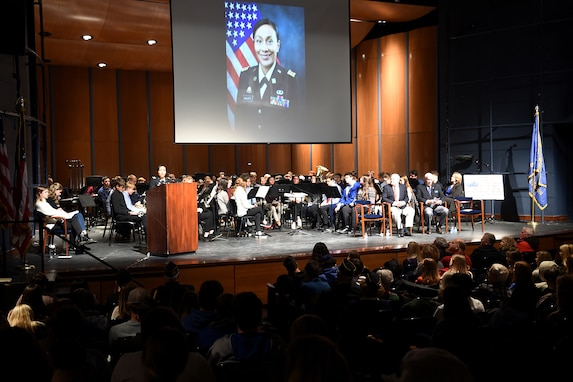 Lt. Col. Vickie Argueta, Equal Opportunity Advisor, 85th U.S. Army Reserve Support Command, speaks to an audience of students, veterans and area residents at Lake Forest High School during their Veteran's Day ceremony, November 11, 2019.