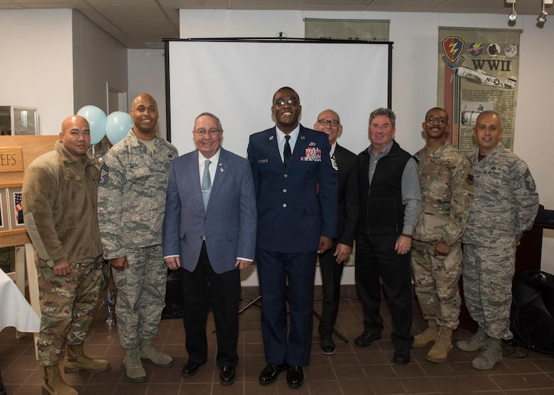 Chief Master Sgt. Wendell Snider, 366th Fighter Wing command chief, along with current and prior chiefs from Mountain Home Air Force Base, pose for a picture after a ceremony, Nov. 11, 2019. The ceremony entails honoring MHAFB's top enlisted leaders who've served in the 366th FW as senior enlisted advisors. (U.S. Air Force photo by Senior Airman Tyrell Hall)