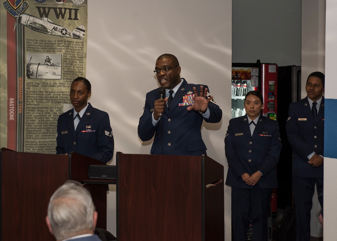 Chief Master Sgt. Wendell Snider, 366th Fighter Wing command chief, speaks at the Chief Legacy ceremony, Nov. 11, 2019, at Mountain Home Air Force Base, Idaho. This is the first time a chief documentation program has been created at MHAFB, honoring prior command chiefs and displaying their pictures on a plaque in chronological order. (U.S Air Force photo by Senior Airman Tyrell Hall)