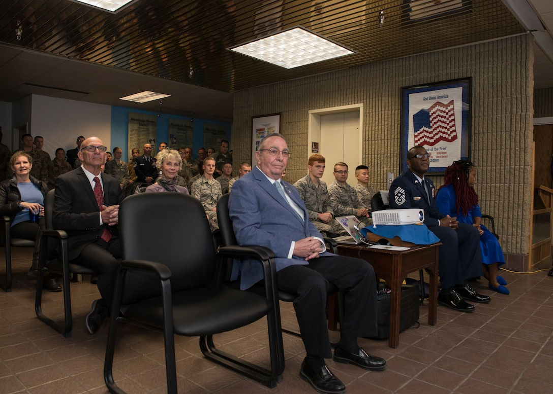The 366th Fighter Wing attends the Chief Legacy ceremony, Nov. 11, 2019, at Mountain Home Air Force Base, Idaho. This is the first time a chief documentation program has been created at MHAFB, honoring prior command chiefs and displaying their pictures on a plaque in chronological order. (U.S. Air Force photo by Senior Airman Tyrell Hall)