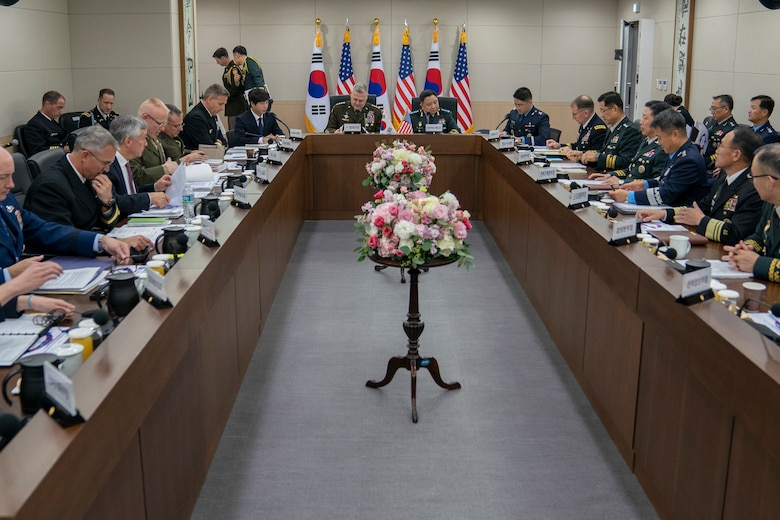 Army Gen. Mark A. Milley, chairman of the Joint Chiefs of Staff, and Chairman of the Republic of Korea Joint Chiefs of Staff Gen. Hanki Park participate in the 44th Republic of Korea and U.S. Military Committee Meeting at the Ministry of National Defense in Seoul, Republic of Korea, Nov. 14, 2019.