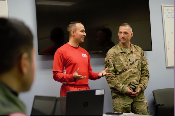 Major Johann Pambianchi (left), B-20 Flight commander, 31st Student Squadron, Squadron Officer School, introduces Lt. Col. Duane Richardson as the flight's senior mentor, Nov. 13, 2019. Richardson is an instructor for the Leader Development Course for Squadron Command at the Ira C. Eaker Center for Leadership Development. He and more than three dozen other senior leaders from across Air University and Maxwell volunteer their time to take part in SOS's Senior Mentor Program, engaging with students multiple times throughout the 6.5-week school. (Courtesy photo)