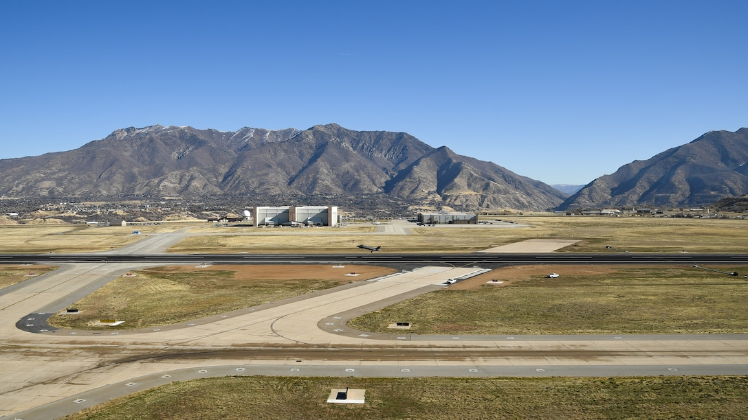 An F-35A Lightning II takes off from the base's newly resurfaced runway Nov. 5, 2019, at Hill Air Force Base, Utah. A nine month, $44.6 million construction project providing major repairs to the runway was completed this month. In addition to complete asphalt rehabilitation, the 13,500-foot runway received wider shoulders, a widened taxiway on the south end, new overruns, new airfield signs, and new electrical wiring and new airfield lighting. (U.S. Air Force photo by R. Nial Bradshaw)