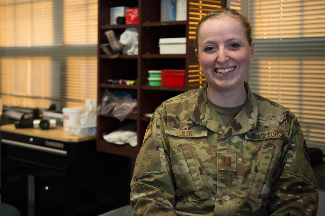 U.S. Air Force Capt. Michelle Jilek, is a physical therapist assigned to the 633rd Medical Operations Squadron, but has been embedded part time with the 1st Fighter Wing to help increase mission effectiveness.