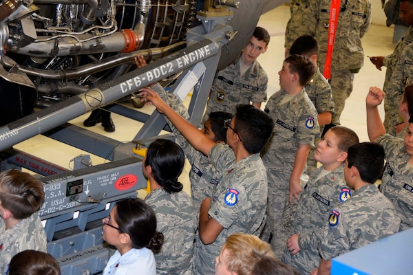 Civil Air Patrol cadets learn about the C-5M Super Galaxy's engines in the 433rd Maintenance Squadron's engine shop Nov. 6, 2019 at Joint Base San Antonio-Lackland, Texas (U.S. Air Force photo by Staff Sgt. Lauren M. Snyder)