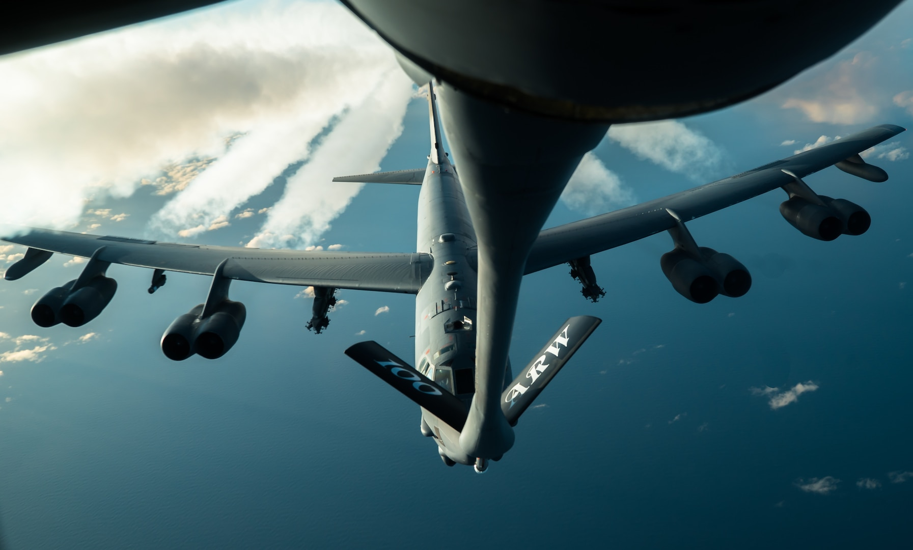 A U.S. Air Force B-52H Stratofortress, assigned to the 2nd Bomb Wing from Barksdale Air Force Base, Louisiana, prepares to receive fuel from a 100th Air Refueling Wing KC-135 Stratotanker over the Arctic during Bomber Task Force 20-1, Nov. 6, 2019. This deployment allows aircrews and support personnel to conduct theater integration and improve bomber interoperability with joint partners and allied nations. (U.S. Air Force photo by Staff Sgt. Trevor T. McBride)