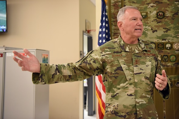 Chaplain Maj. Gen. Steven Schaick, U.S. Air Force Chief of Chaplains, visited the Combined Air Operations Center at Al Udeid Air Base, Qatar, Nov. 7, 2019.