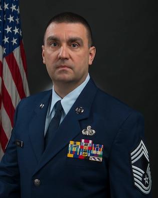 Portrait of Chief Master Sgt. Michael Powell. (U.S. Air National Guard photo by Master Sgt. De-Juan Haley)