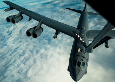 A U.S. Air Force B-52H Stratofortress, assigned to the 2nd Bomb Wing from Barksdale Air Force Base, Louisiana, prepares to receive fuel from a 100th Air Refueling Wing KC-135 Stratotanker during Bomber Task Force 20-1, Nov. 4, 2019. This deployment allows aircrews and support personnel to conduct theater integration and improve bomber interoperability with joint partners and allied nations. (U.S. Air Force photo by Staff Sgt. Trevor T. McBride)