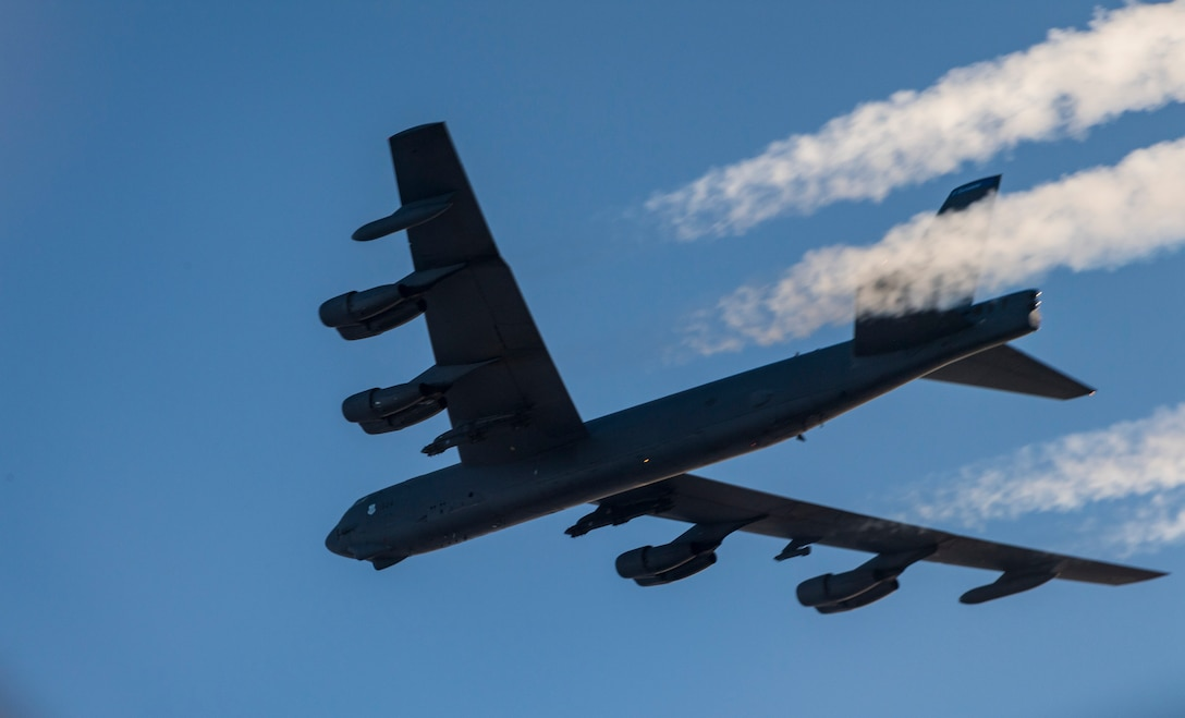 A U.S. Air Force 2nd Bomb Wing B-52H Stratofortress soars across the Norwegian sky during training and integration with the Norwegian Air Force in support of Bomber Task Force Europe 20-1, Nov. 6, 2019. This deployment allows aircrews and support personnel to conduct theater integration and to improve bomber interoperability with joint partners and allied nations. (U.S. Air Force photo by Tech. Sgt. Christopher Ruano)