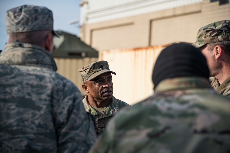 U.S. Army Lt. Col. Garland Pennington, Delaware Army National Guard Joint Operations Center director, briefs leaders on Total Force/Joint Training Exercise Diamond Wing at Dover Air Force Base, Del., Nov. 14, 2019. The National Guard is prepared with highly-trained professionals and state-of the-art equipment to respond and support incident commanders in any disaster scenario, and training like Diamond Wing allows the Delaware Guard to showcase the capabilities of Citizen Guardsmen. (U.S. Air National Guard Photo by Mr. Mitchell Topal)