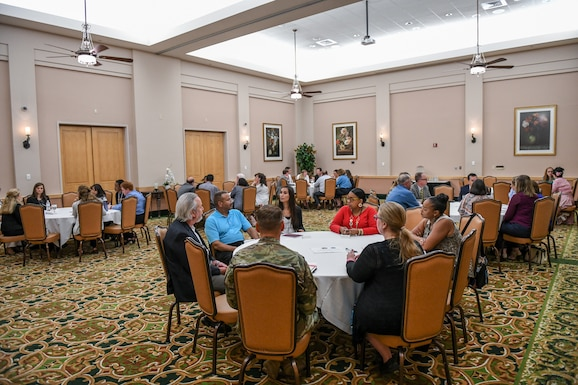 Mentors and mentees gather for a mentoring session at Joint Base San Antonio (JBSA)-Lackland, TX, Gateway Club Aug. 22, 2019. JBSA-Lackland hosted a mentor session between Senior Air Force Civilians and JBSA civilian mentees. Mentors included; Anthony Reardon, the Administrative Assistant to the Secretary of the Air Force; Gwendolyn DeFilippi, the Principal Assistant to the Deputy Chief of Staff for Manpower, Personnel and Services; Carlos Bassut, 502D Air Base Wing & JBSA, technical director; Michael Bensen, Airman & Family Services Enterprise Management, Installation Support Directorate, division chief; John Kretzer, 688 Cyberspace Wing, technical director. While here, they communicated and interacted with the civilian workforce regarding career and developmental opportunities, paths to senior civilian positions and answered questions in a non-attribution environment. (U.S. Air Force Photo by Andrew C. Patterson)