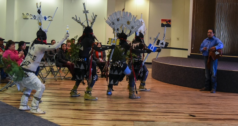 The White Mountain Apache Tribe Diamond Creek Crowne Dancers perform at the American Indian and Alaskan Native Heritage Month celebration on Kirtland Air Force Base, N.M., Nov. 14, 2019. The celebration recognized and honored those that have served in the armed forces. (U.S. Air Force photo by Airman 1st Class Ireland Summers)