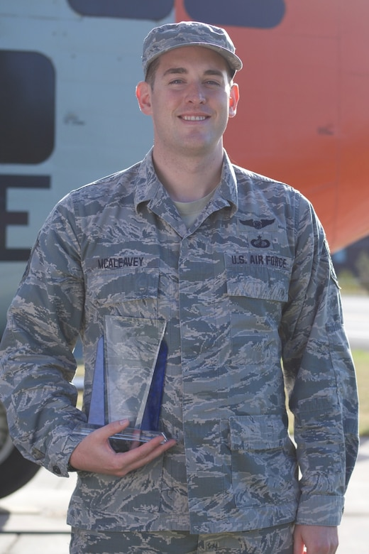 U.S. Air Force Master Sgt. John (J.C.) McAleavey, a budget analyst assigned to the Comptroller Flight at the 176th Wing, Alaska Air National Guard,  earned honors as the National Guard Bureau financial management and comptroller noncommissioned officer of the year for fiscal year 2018. McAleavey is a native of Eagle River, Alaska, and began his career in the Air National Guard as a C-130 Hercules loadmaster. (U.S. Air National Guard photo by David Bedard/Released)