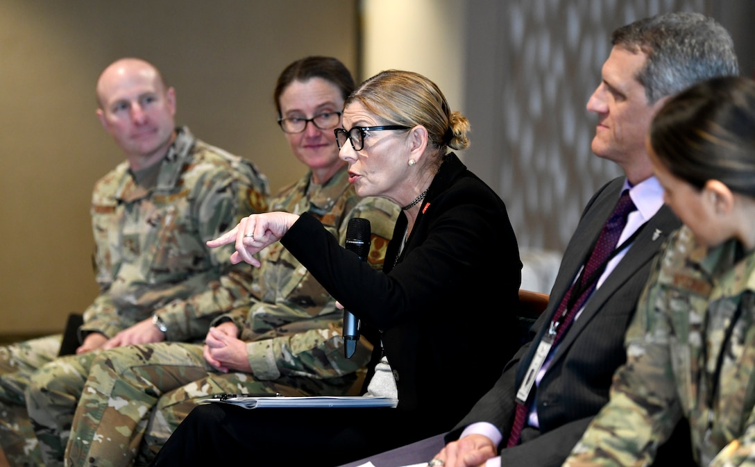 Air Force Materiel Command Command leaders participate in a panel focused on Leading with Diversity and Inclusion during the inaugural Air Force Materiel Command Women's Leadership Symposium, Nov. 13. The two-day event drew more than 250 attendees from across the command, with keynote speakers, issue-focused panels and collaborative networking discussions designed to empower women to help foster workplace environments that embrace diversity and promote leadership growth throughout the organization.