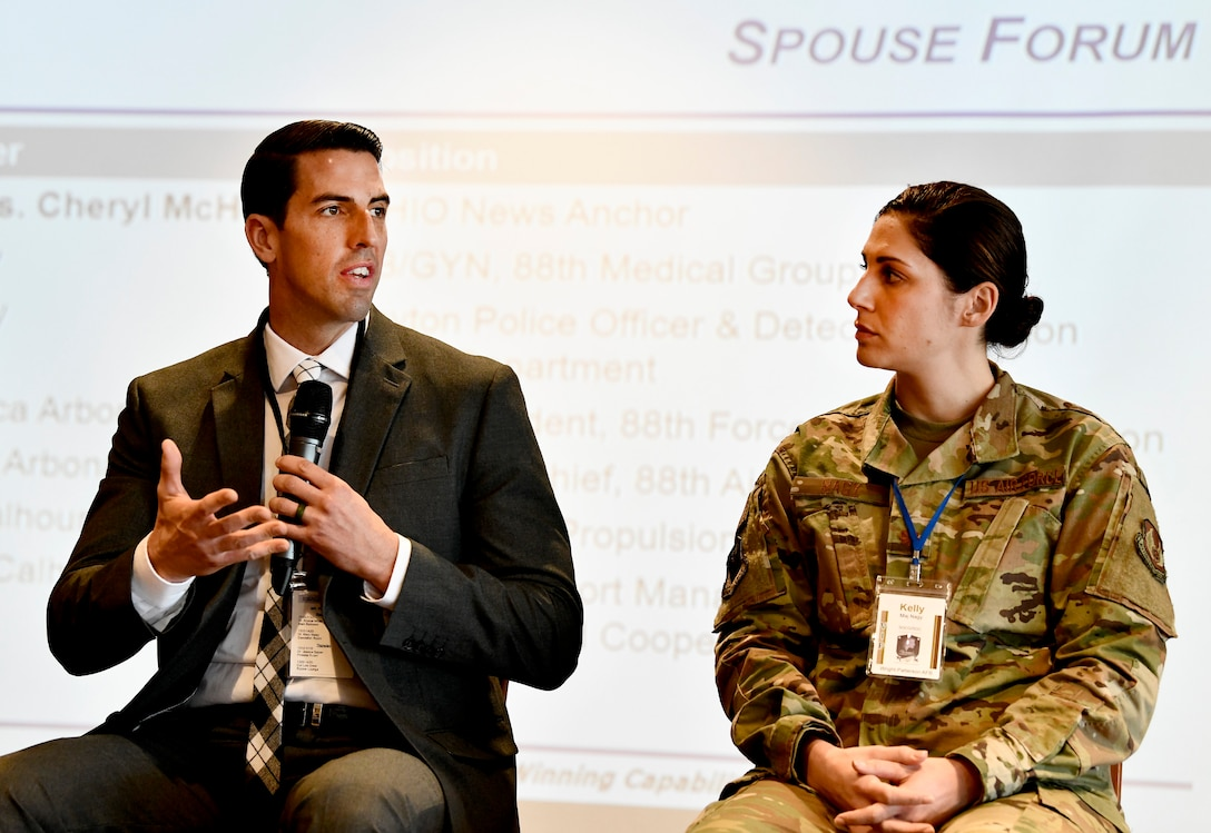 Maj. Kelly Nagy and her spouse, Ross Nagy participate in a spouse forum during the inaugural Air Force Materiel Command Women's Leadership Symposium, Nov. 13-14. The two-day event drew more than 250 attendees from across the command, with keynote speakers, issue-focused panels and collaborative networking discussions designed to empower women to help foster workplace environments that embrace diversity and promote leadership growth throughout the organization.