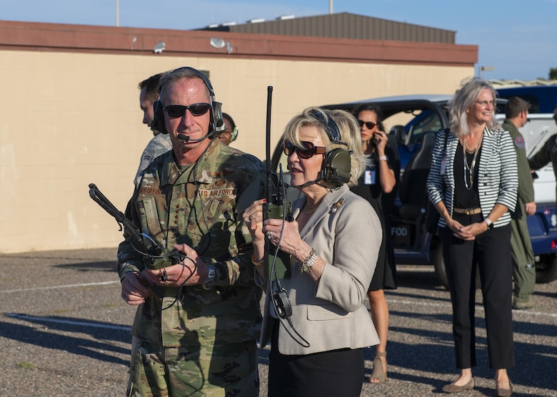 Air Force Chief of Staff Gen. David L. Goldfein and his wife Dawn, watch an F-35A Lightning II Demonstration Team practice Nov. 8, 2019, at Luke Air Force Base, Ariz.