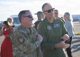 Air Force Chief of Staff Gen. David L. Goldfein and Brig. Gen. Todd D. Canterbury, 56th Fighter Wing commander, watch an F-35A Lightning II Demonstration Team practice Nov. 8, 2019, at Luke Air Force Base, Ariz.