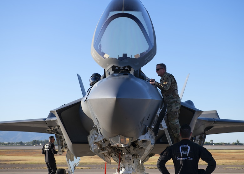 Air Force Chief of Staff Gen. David L. Goldfein looks inside an F-35A Lightning II cockpit following an F-35 Demonstration Team practice, Nov. 8, 2019, at Luke Air Force Base, Ariz.