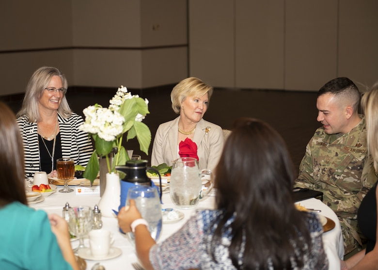 Dawn Goldfien, wife of Air Force Chief of Staff Gen. David L. Goldfein, speaks to Luke Air Force Base key spouses during a luncheon Nov. 8, 2019, at Luke AFB, Ariz.