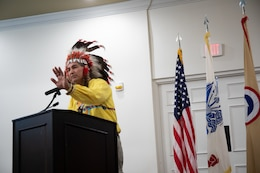 Chief Matthew Black Eagle Man talks to the audience during the Fort Knox National American Indian Heritage Month Observance held at Saber and Quill on Fort Knox, Ky. on Nov. 15, 2019.
