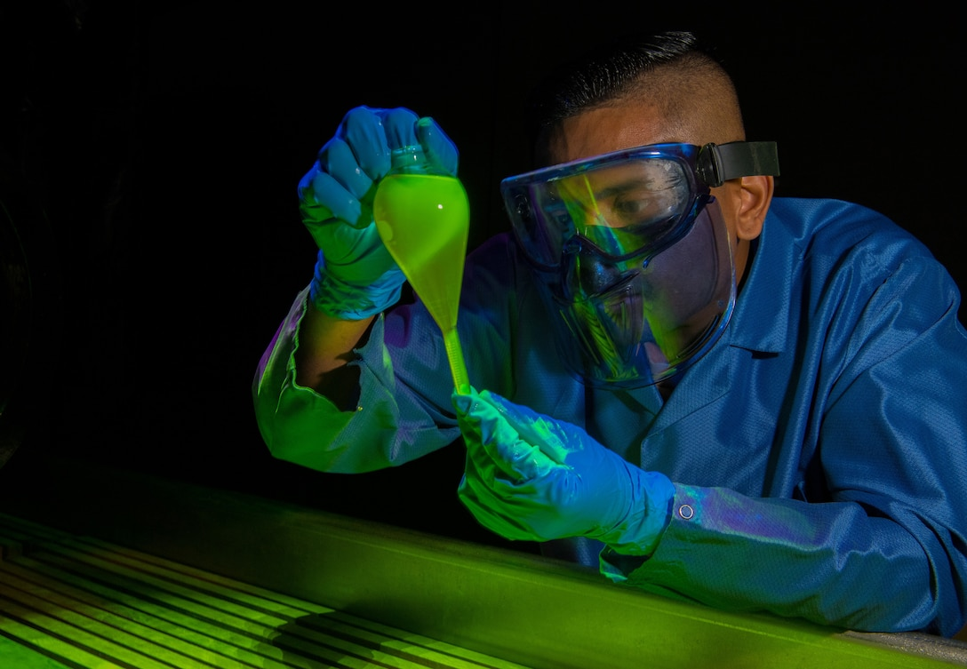 Staff Sgt. runs a magnetic particle concentration test