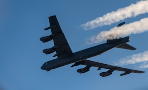 A B-52H Stratofortress flies over Norway