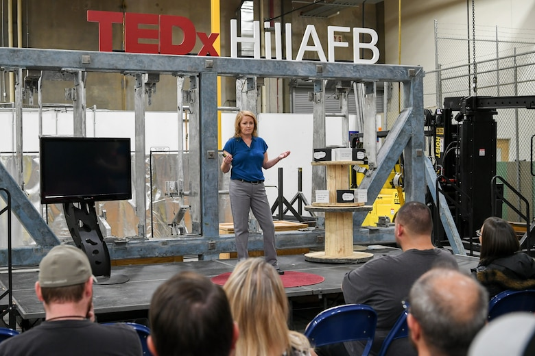 T.L. Coulter, career readiness consultant for 75th Force Support Squadron, speaks at the TEDx salon event held at Hill Air Force Base, Utah, Oct. 17, 2019. Her talk was about shelving negative thoughts for positive ones and how not to create self-limiting beliefs. (U.S. Air Force photo by Cynthia Griggs)