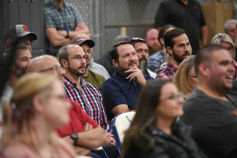 Audience members react during the TEDx salon event held at Hill Air Force Base, Utah Oct. 17, 2019. Three speakers from the around the base gave talks of inspiration and calls to action. (U.S. Air Force photo by Cynthia Griggs)