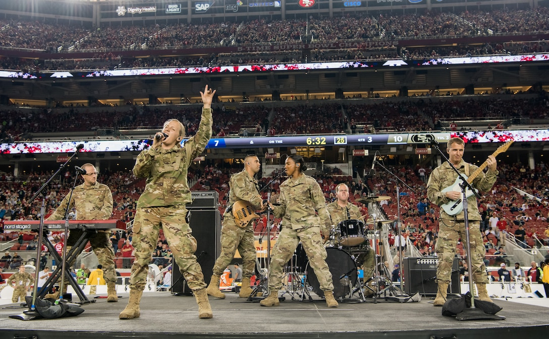 Mobility Rock Band play during the Monday Night Football Halftime Show